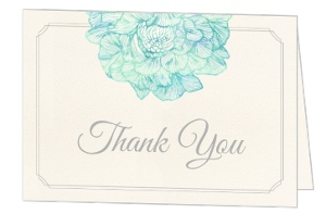 Romantic Watercolor Florals Wedding Thank You Card