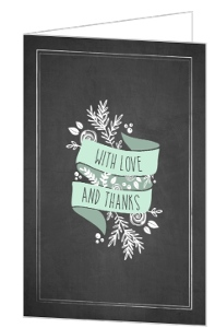 Chalkboard Mint and White Foliage Wedding Thank You Card