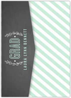 Chalkboard Mint Green Floral Pocketfold Graduation Announcement