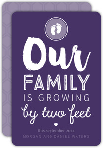 Baby Feet Purple Pregnancy Announcement