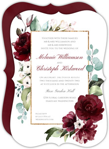 Elegant Burgundy Florals Wedding Invitation
