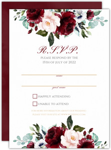 Elegant Burgundy Florals Wedding Response Card
