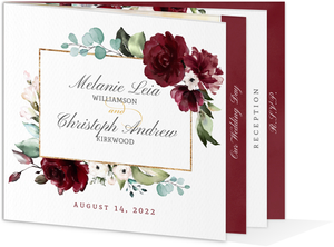 Elegant Burgundy Florals Wedding Booklet Invitation