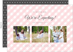 Classy Grey and Pink Pregnancy Announcement