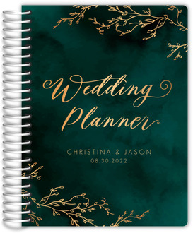 Gorgeous Emerald Watercolor Wedding Planner