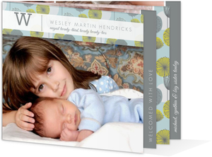 Gray and Green Dandelion Pattern Sibling Birth Announcement