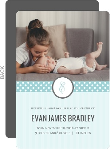 Blue Stripes and Dots Sibling Baby Announcement