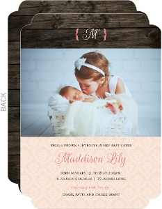 Chocolate and Pink Damask Sibling Baby Announcement