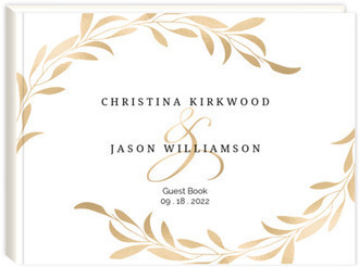 Faux Gold Laurel Wedding Guest Book