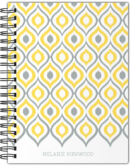 Yellow and Gray Ikat Notebook