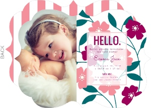 Pink Stripes with Flowers Sibling Baby Announcement