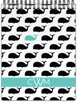 Modern Whale Monogram Notebook
