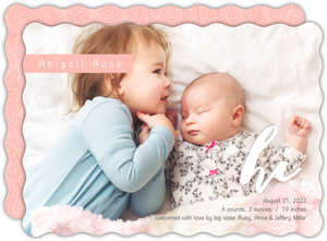 Pink with White Lace Sibling Baby Announcement