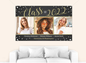 Confetti and Glitter Script Graduation Banner