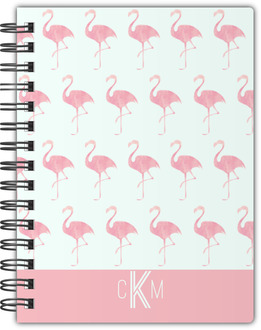 Pink Watercolor Flamingo Custom Notebook
