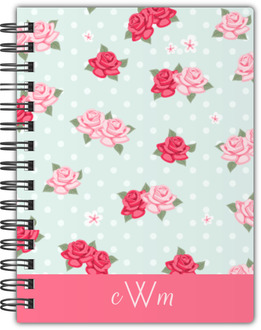 Vintage Rose Monogram Custom Notebook