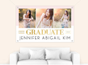 Lined Triple Photo Graduation Banner