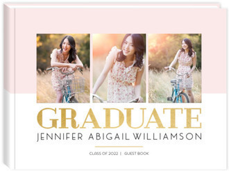 Lined Triple Photo Graduation Guest Book