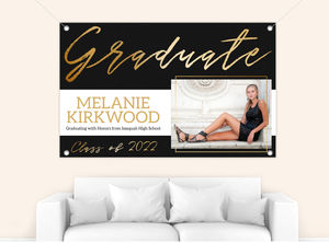 Modern Black  Faux Gold Graduation Photo Banner