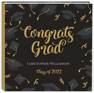 Caps Confetti Pattern Graduation Guest Book