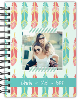 Whimsical Feathers Custom Photo Notebook