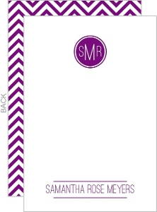 Modern Monogram Chevron Bat Mitzvah Thank You Card