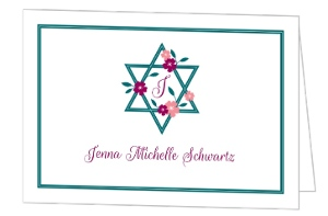Ivy Floral Bat Mitzvah Thank You Card