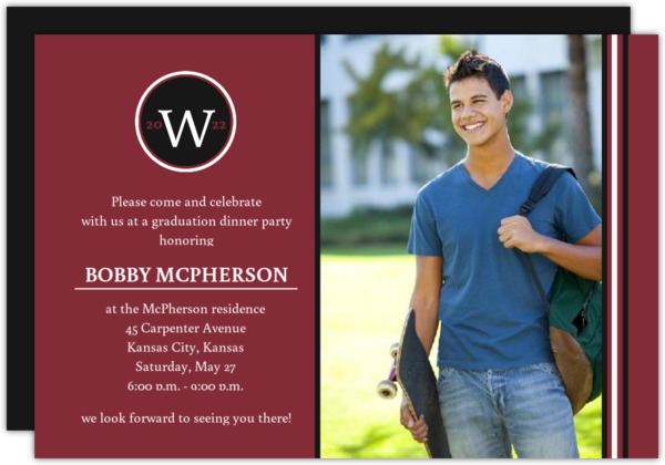 School Colors Stripe and Monogram Grad Invite