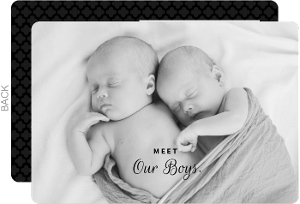 Simple Black Photo Twins Announcement