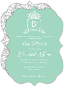 Whimsical Mint Monogram Bat Mitzvah Invitation