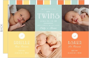 Yellow and Orange Twin Announcement Card