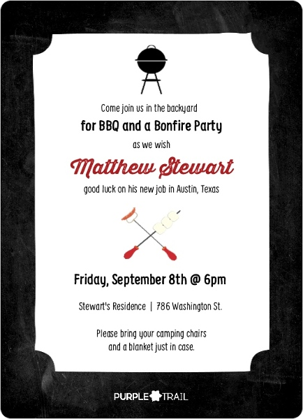 Chalkboard Bonfire Going Away Party Invitation   Going Away Party ...