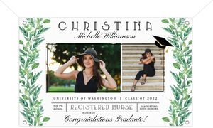Gorgeous Greenery Graduation Banner