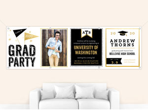 Faux Gold Black & White Graduation Banner