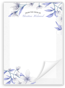 White Lilies Purple Leaves Personalized Notepad