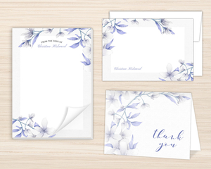 White Lilies Purple Leaves Stationery Set