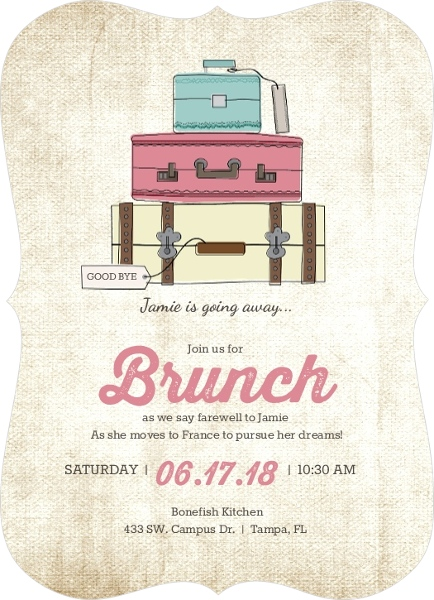 Vintage Luggage Farewell Brunch Invitation Going Away Party