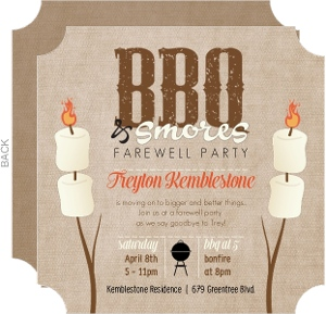 BBQ And Smores Going Away Party Invitation
