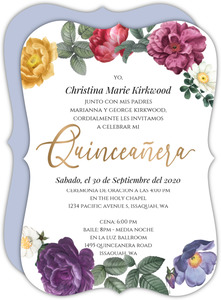 Spring Floral Frame Quinceanera Invitation