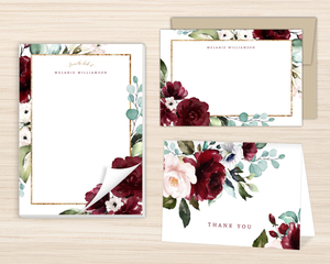 Elegant Burgundy Florals Stationery Set