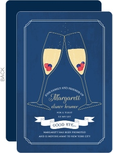 Champagne Toast Farewell Dinner Invitation