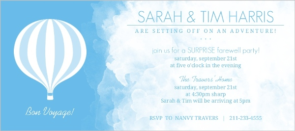 Hot Air Balloon Bon Voyage Surprise Party Invitation Going Away - Bon voyage party invitation template