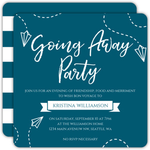Paper Plane Going Away Party Invitation