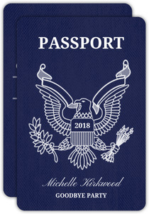 Blue Passport Going Away Party Invitation