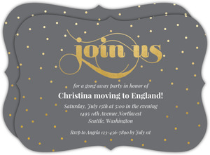 Elegant Faux Gold Script Going Away Party Invitation