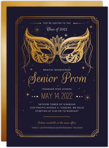 Faux Gold Enchanted Masquerade Prom Invitation