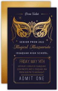 Faux Gold Enchanted Masquerade Prom Ticket