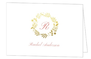 Classic Pink Gold Foil Wreath Bat Mitzvah Thank You Card