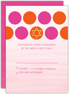 Bright Colorful Dots Bat Mitzvah Response Card