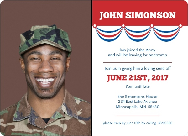 patriotic banner military send off party invite going away party